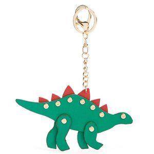 Dinosaur Stegosaurus Key Ring Chain Faux Leather